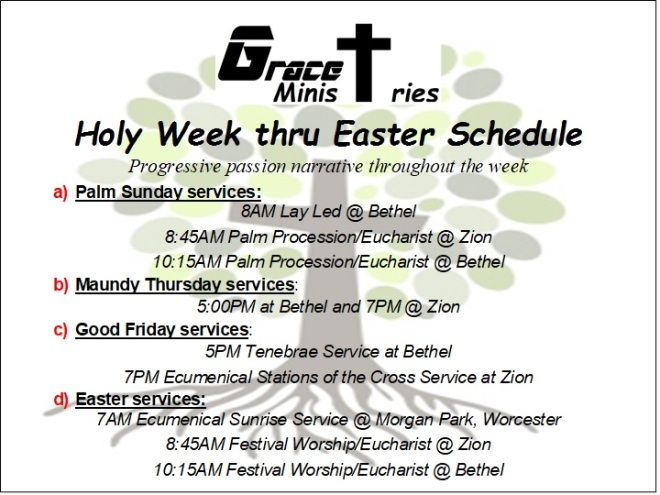 2018 Holy Week & Easter Schedule