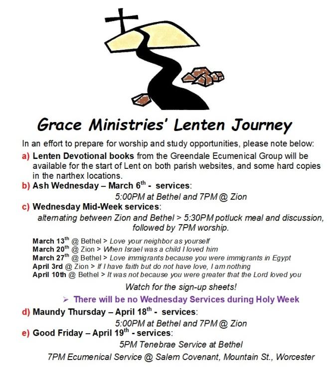 2019 Lenten Schedule