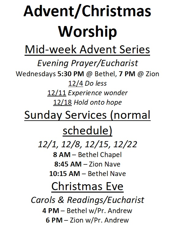 2019 Advent Christmas schedule
