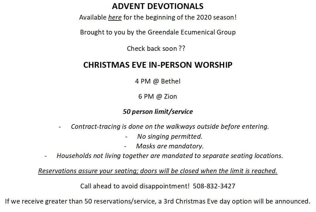 2020 Advent and Christmas announcement
